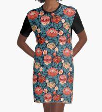 Protea Chintz - Navy Graphic T-Shirt Dress