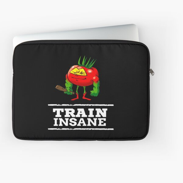 Train Insane Tomato The Barbarian Foodietoon Superhero Bodybuilder Workout Power-lifter Weightlifter Laptop Sleeve