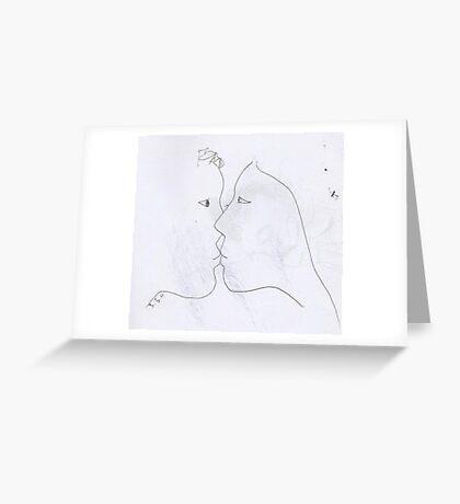 the kiss -(030311)- black biro pen/A4 sketchbook Greeting Card