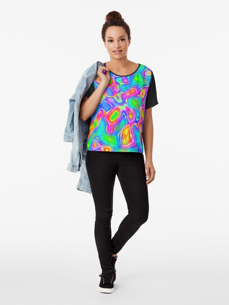 Alternate view of Random virtual color pixel abstraction Chiffon Top