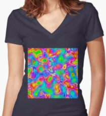 Random virtual color pixel abstraction Fitted V-Neck T-Shirt