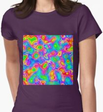 Random virtual color pixel abstraction Fitted T-Shirt