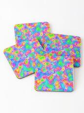 Random virtual color pixel abstraction Coasters