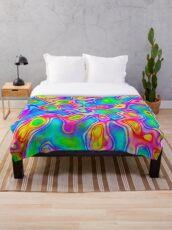 Random virtual color pixel abstraction Throw Blanket