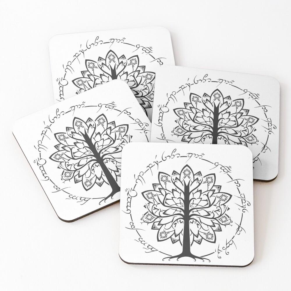 Minimalist White Tree Coasters (Set of 4)