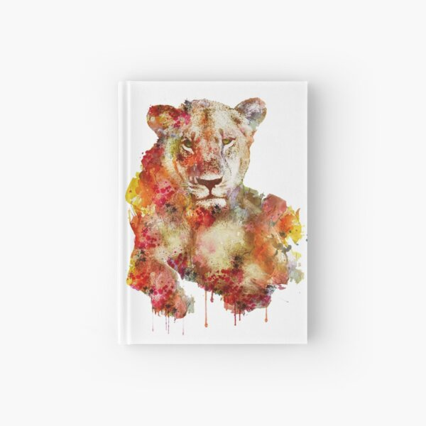 Resting Lioness in watercolor Hardcover Journal