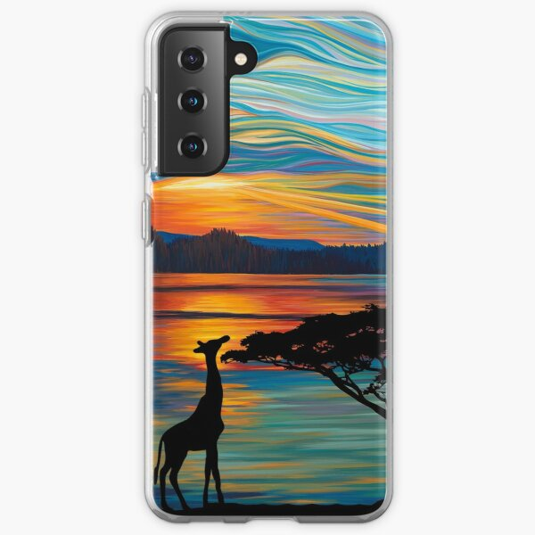 Extinction Rebellion Sunset Over Lake Savannah Safari Wild Animals Giraffe Elephants  Samsung Galaxy Soft Case