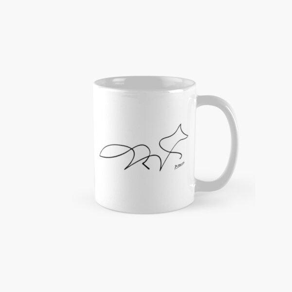 Pablo Picasso Line Art Wild Walking Fox Artwork Sketch black and white Hand Drawn ink Silhouette HD High Quality Classic Mug