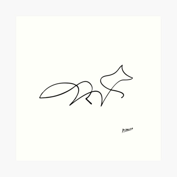 Pablo Picasso Line Art Wild Walking Fox Artwork Sketch black and white Hand Drawn ink Silhouette HD High Quality Art Print