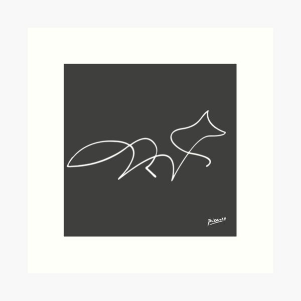 Pablo Picasso Line Art Wild Walking Fox Artwork Sketch black and white Hand Drawn ink Silhouette charcoal gray HD High Quality Art Print