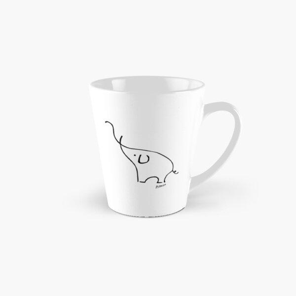 Pablo Picasso Line Art Cute Elephant Artwork Sketch black and white Hand Drawn ink Silhouette HD High Quality Tall Mug