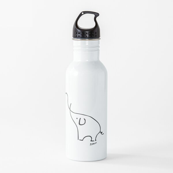 Pablo Picasso Line Art Cute Elephant Artwork Sketch black and white Hand Drawn ink Silhouette HD High Quality Water Bottle