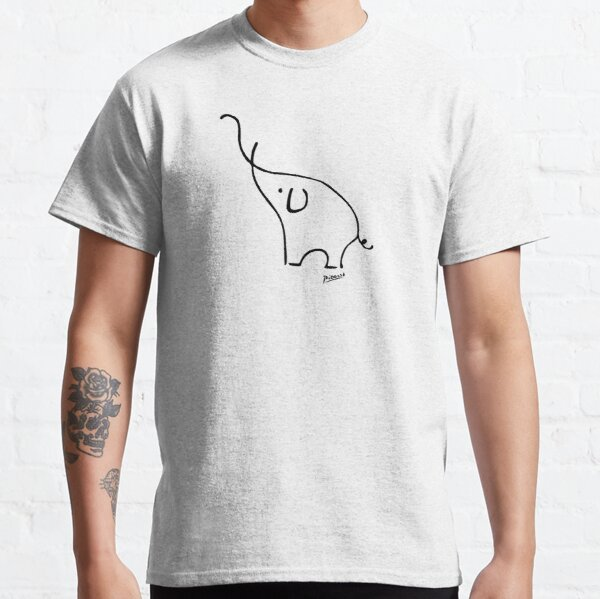 Pablo Picasso Line Art Cute Elephant Artwork Sketch black and white Hand Drawn ink Silhouette HD High Quality Classic T-Shirt