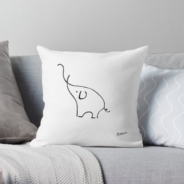 Pablo Picasso Line Art Cute Elephant Artwork Sketch black and white Hand Drawn ink Silhouette HD High Quality Throw Pillow