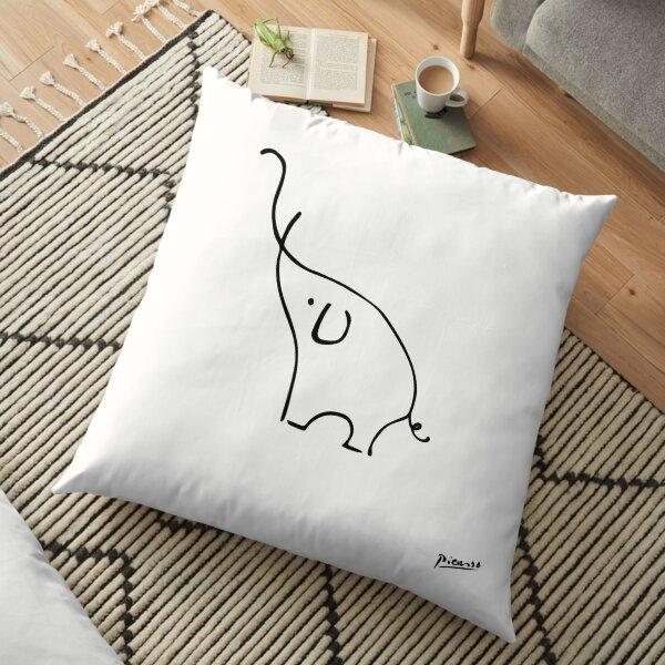 Pablo Picasso Line Art Nette Elefanten Artwork Sketch Schwarz-Weiß Hand gezeichnete Tinte Silhouette HD High Quality Bodenkissen