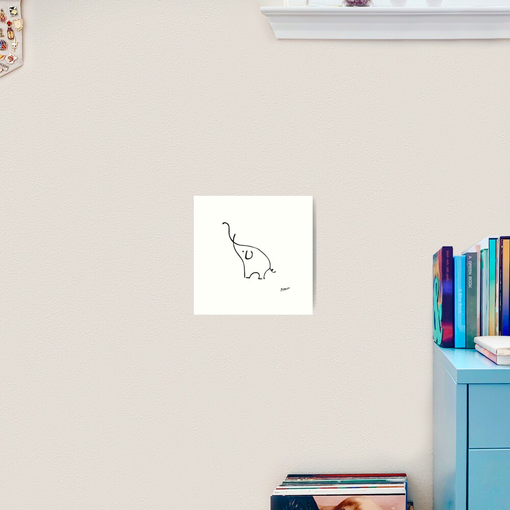 Pablo Picasso Line Art Cute Elephant Artwork Sketch black and white Hand Drawn ink Silhouette HD High Quality Art Print