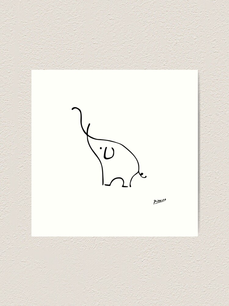 Alternate view of Pablo Picasso Line Art Cute Elephant Artwork Sketch black and white Hand Drawn ink Silhouette HD High Quality Art Print
