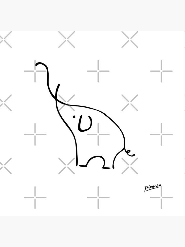 Pablo Picasso Line Art Cute Elephant Artwork Sketch black and white Hand Drawn ink Silhouette HD High Quality by iresist
