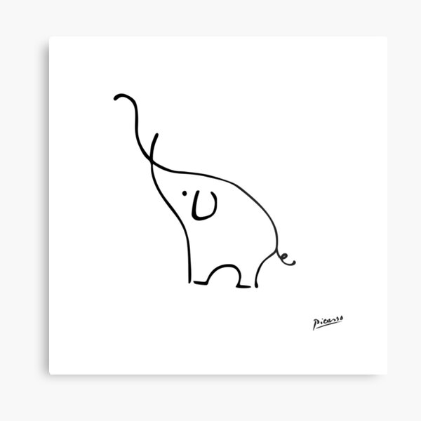 Pablo Picasso Line Art Cute Elephant Artwork Sketch black and white Hand Drawn ink Silhouette HD High Quality Metal Print