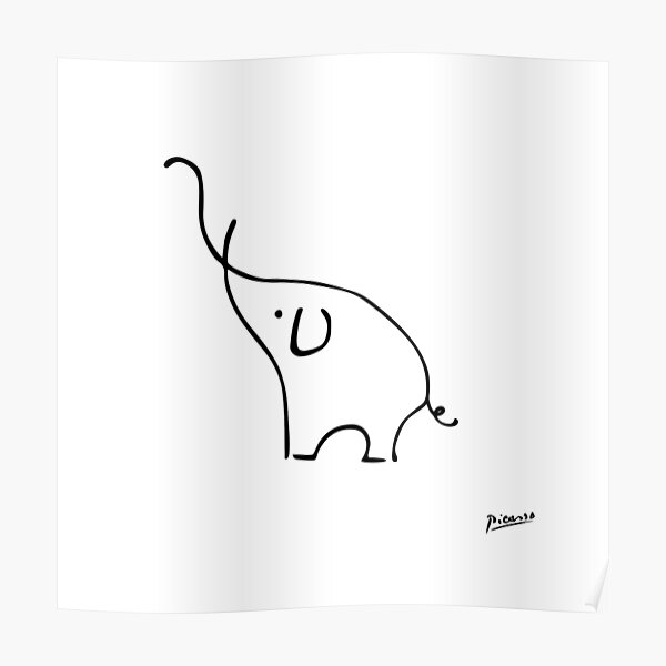 Pablo Picasso Line Art Cute Elephant Artwork Sketch black and white Hand Drawn ink Silhouette HD High Quality Poster