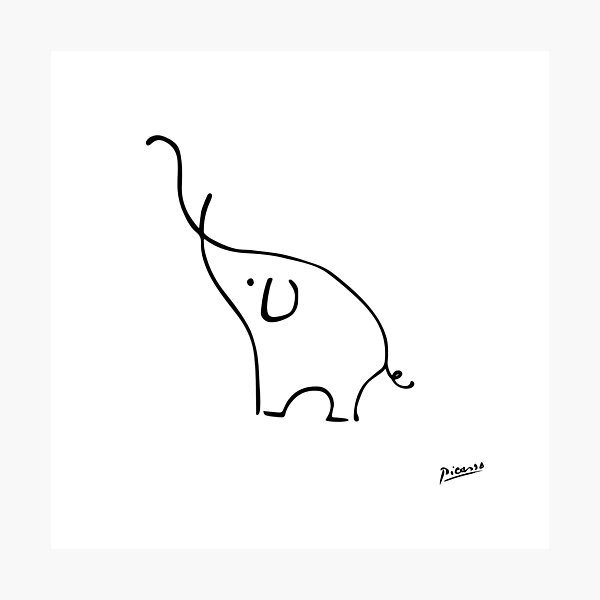 Pablo Picasso Line Art Cute Elephant Artwork Sketch black and white Hand Drawn ink Silhouette HD High Quality Photographic Print