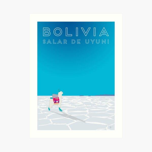 Bolivia Salt Flats Travel Poster Art Print