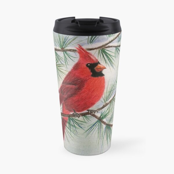 Cardinal In Winter Travel Mug