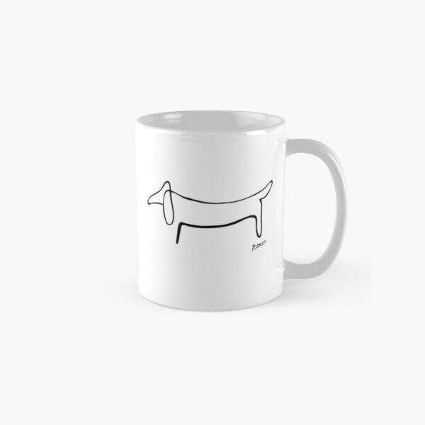 Pablo Picasso Line Art Wild Wiener Dog Dachshund Artwork Sketch black and white Hand Drawn ink Silhouette HD High Quality Classic Mug