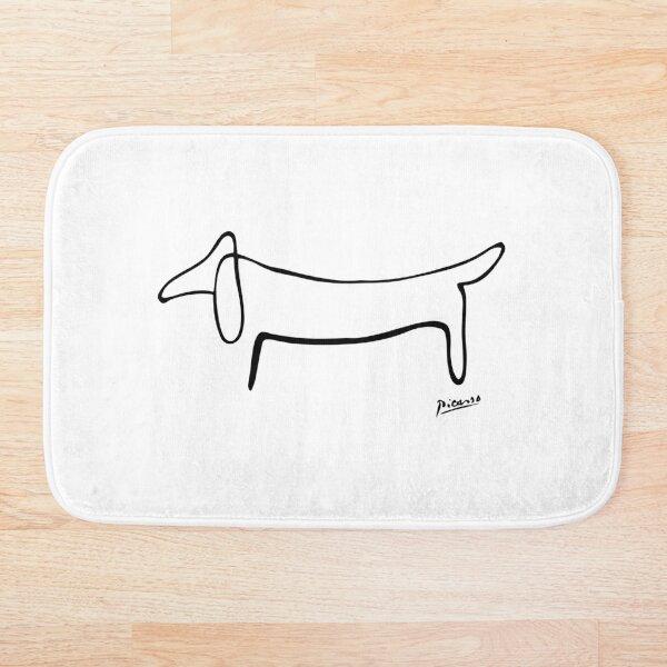 Pablo Picasso Line Art Wild Wiener Dog Dachshund Artwork Sketch black and white Hand Drawn ink Silhouette HD High Quality Bath Mat