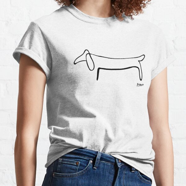 Pablo Picasso Line Art Wild Wiener Dog Dachshund Artwork Sketch black and white Hand Drawn ink Silhouette HD High Quality Classic T-Shirt