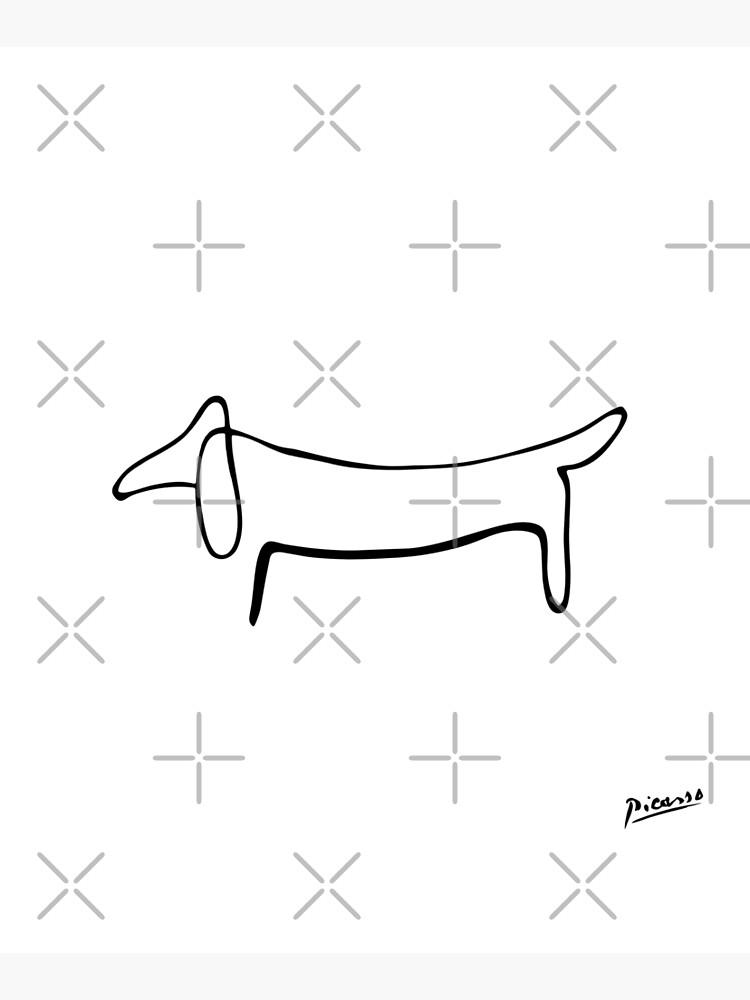 Pablo Picasso Line Art Wild Wiener Dog Dachshund Artwork Sketch black and white Hand Drawn ink Silhouette HD High Quality by iresist