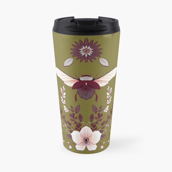 Beetle and Orchid Travel Mug