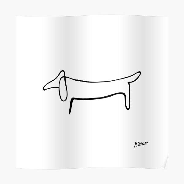 Pablo Picasso Line Art Wilder Wiener Hund Dackel Kunstwerk Skizze schwarz und weiß Hand gezeichnete Tinte Silhouette HD High Quality Poster