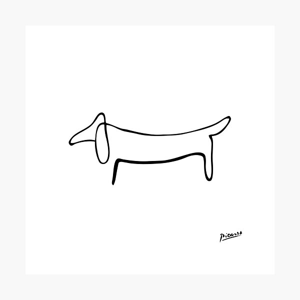 Pablo Picasso Line Art Wild Wiener Dog Dachshund Artwork Sketch black and white Hand Drawn ink Silhouette HD High Quality Photographic Print