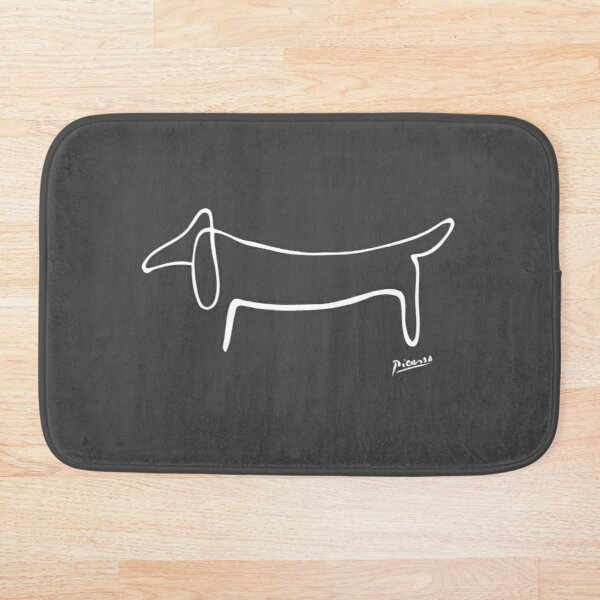 Pablo Picasso Line Art Wild Wiener Dog Dachshund Artwork Sketch black and white Hand Drawn ink Silhouette charcoal gray HD High Quality Bath Mat