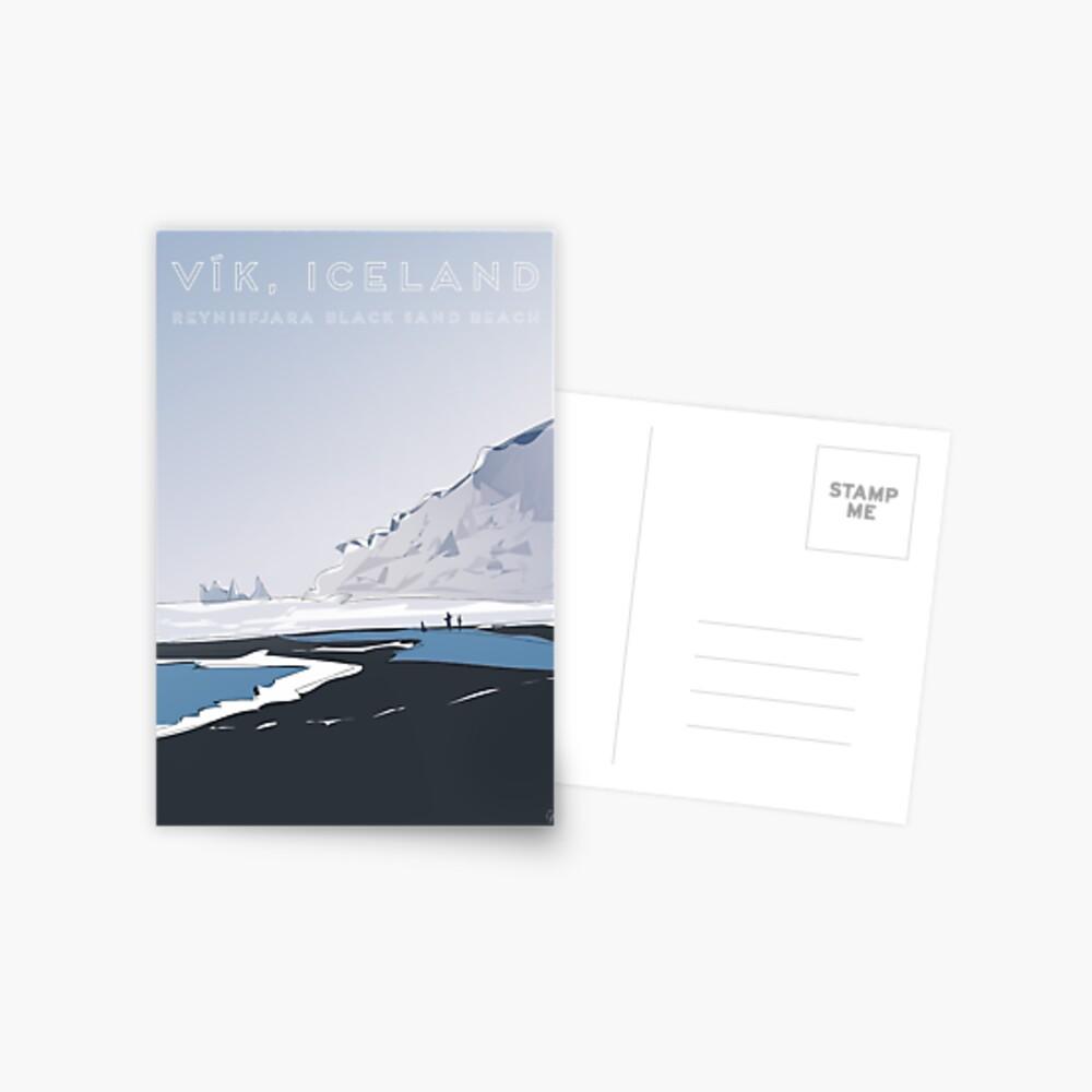 Vik Reynisfjara Black Sand Beach, Iceland Travel Poster Postcard