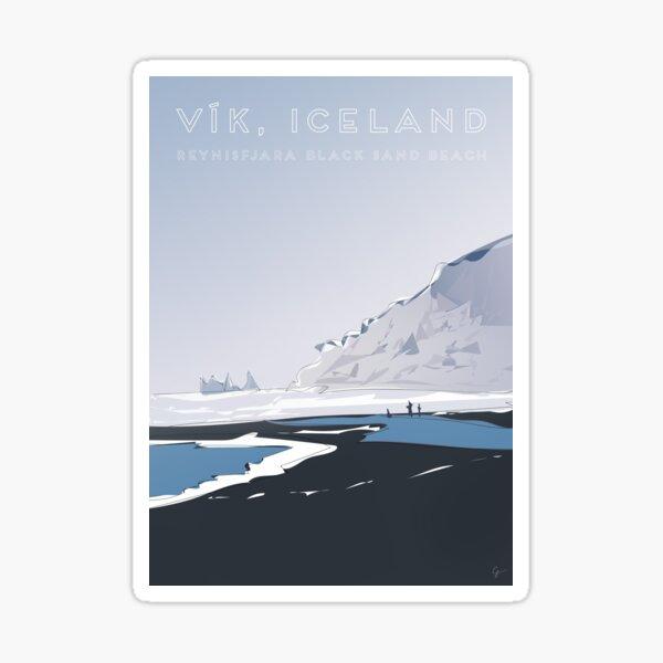 Vik Reynisfjara Black Sand Beach, Iceland Travel Poster Sticker