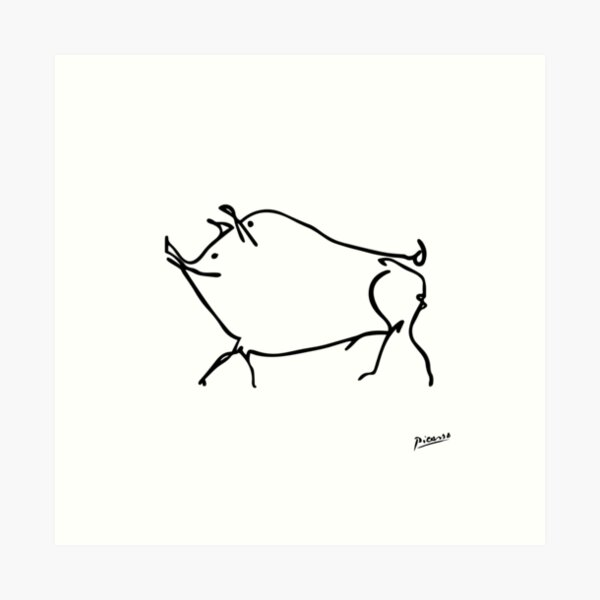Pablo Picasso Line Art cute pig Artwork Sketch black and white Hand Drawn ink Silhouette HD High Quality Art Print