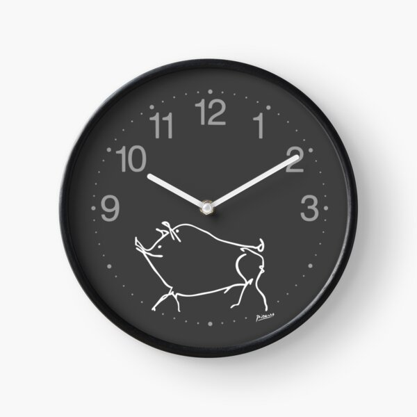 Pablo Picasso Line Art cute pig Artwork Sketch black and white Hand Drawn ink Silhouette charcoal gray HD High Quality Clock
