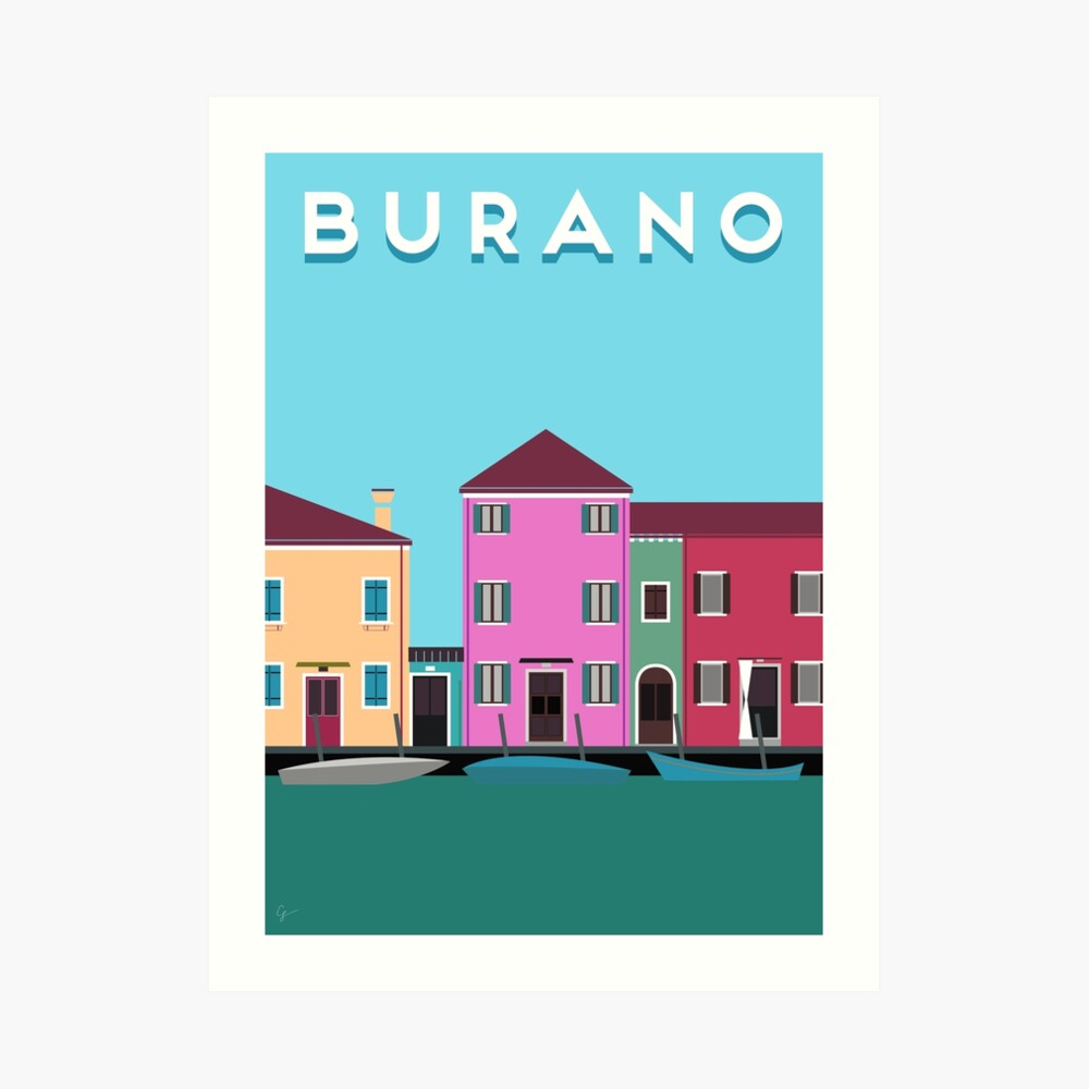 Burano, Italy Travel Poster Block Type Art Print