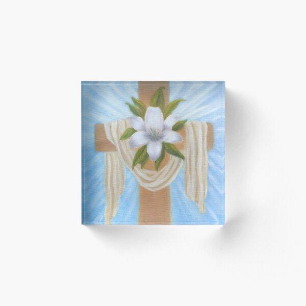 Easter Cross Acrylic Block