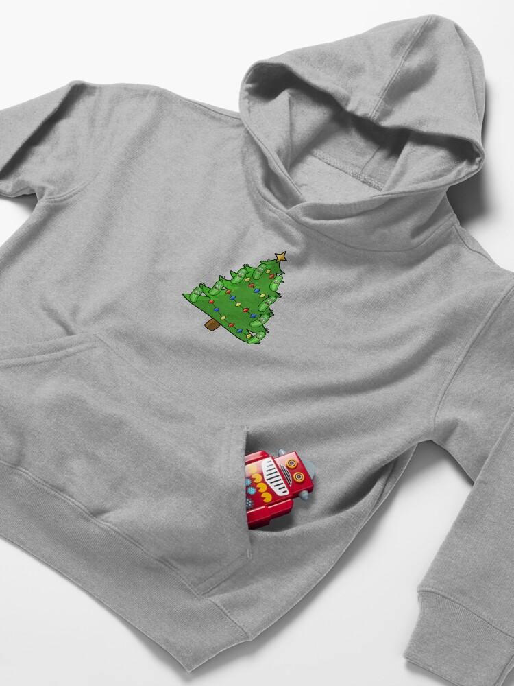 Alternate view of Pickle Rick Christmas Tree Kids Pullover Hoodie