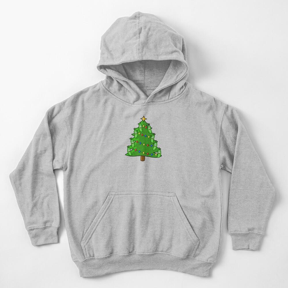 Pickle Rick Christmas Tree Kids Pullover Hoodie