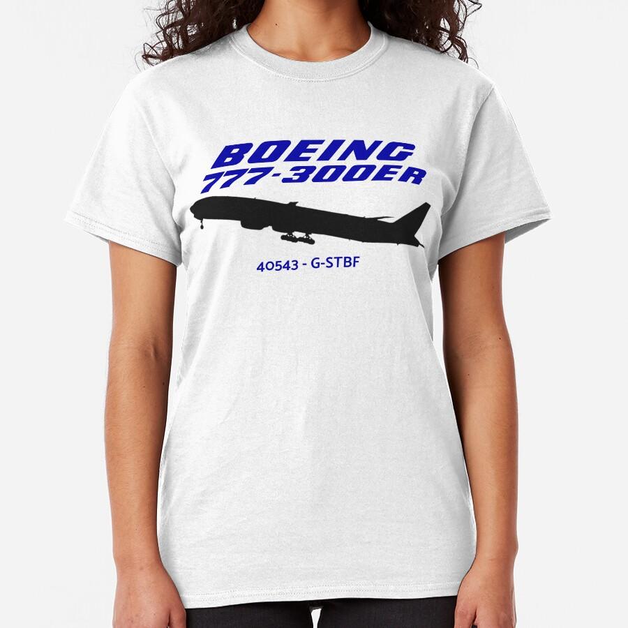 Boeing 777-300ER 40543 G-STBF (Black Print) Classic T-Shirt