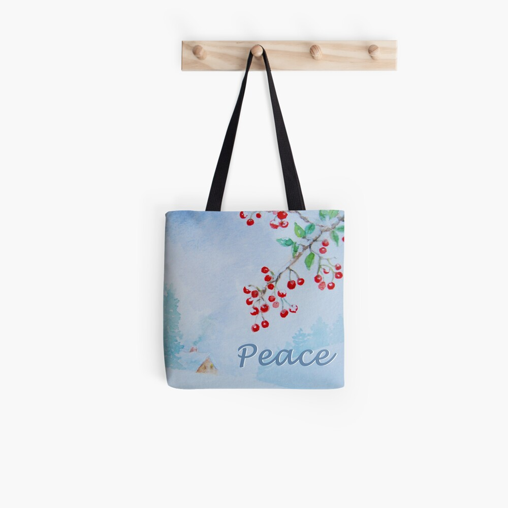 Peace - Snow on the Berries Tote Bag