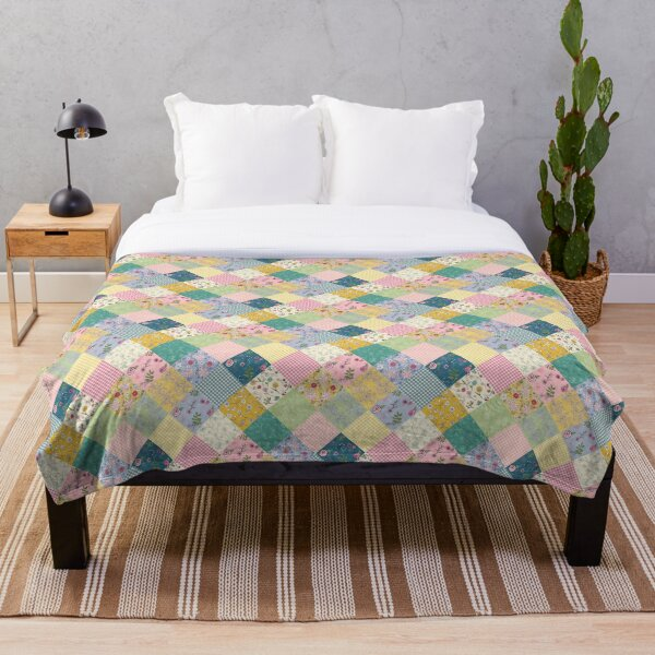 Spring cottage patchwork diamond quilt by Tea with Xanthe Throw Blanket