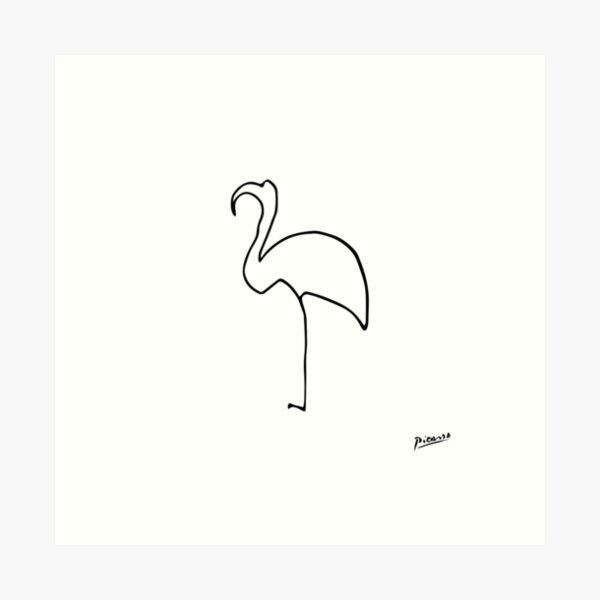 Pablo Picasso Line Art flamingo Artwork Sketch black and white Hand Drawn ink Silhouette HD High Quality Art Print