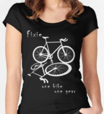 Fixie - one bike one gear (white) Women's Fitted Scoop T-Shirt