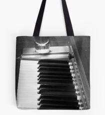 Piano Whiskey Row Black and White Print Tote Bag