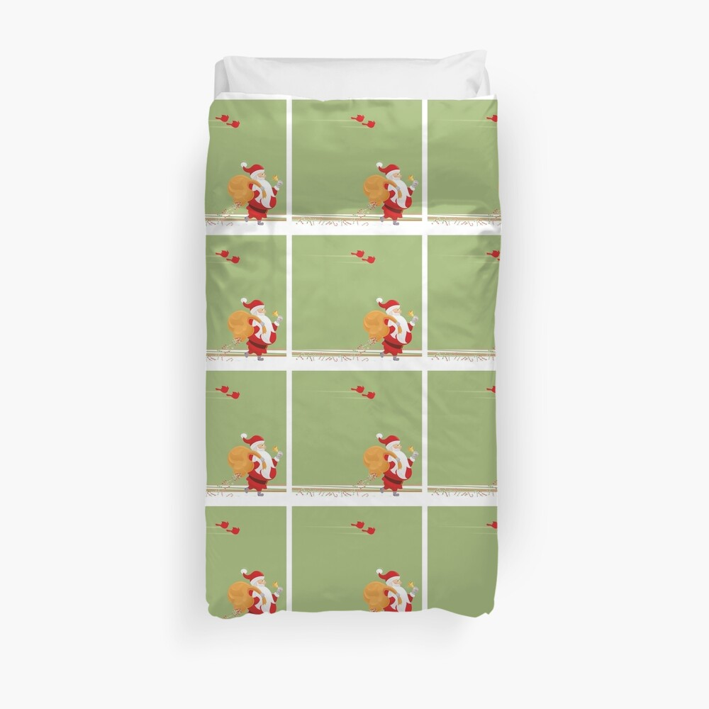 Santa and small red birds Duvet Cover